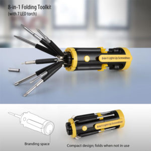 Folding Toolkit with 7 LED Torch