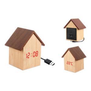 Hut Shape Wooden LED Clock
