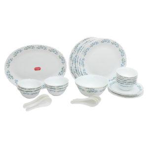 La Opala Diva Lavender Dew Dinner Set - 33 Pieces - White