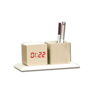 Wooden Tabletop with Digital LED Clock and tumbler (Dual power) (USB Cable included)