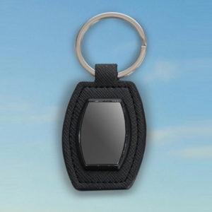 Barrel-shape-metal-keychain-with-PU-base