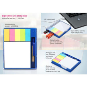Big-USB-hub-with-sticky-notes,-writing-pad-and-pen