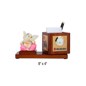 Lord Ganesh with Revolving Pen Stand & Table Clock