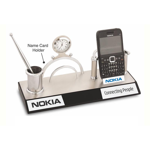 4-in-1-Mobile-Stand,-Name-Card-Holder,-Pen-Stand,-Clock