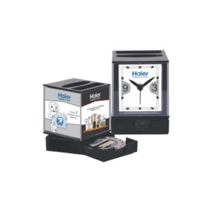 Table Clock With Coaster Set (Black)