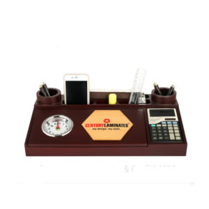 Wooden-Pen-Stand-With-Watch-&-Calculator
