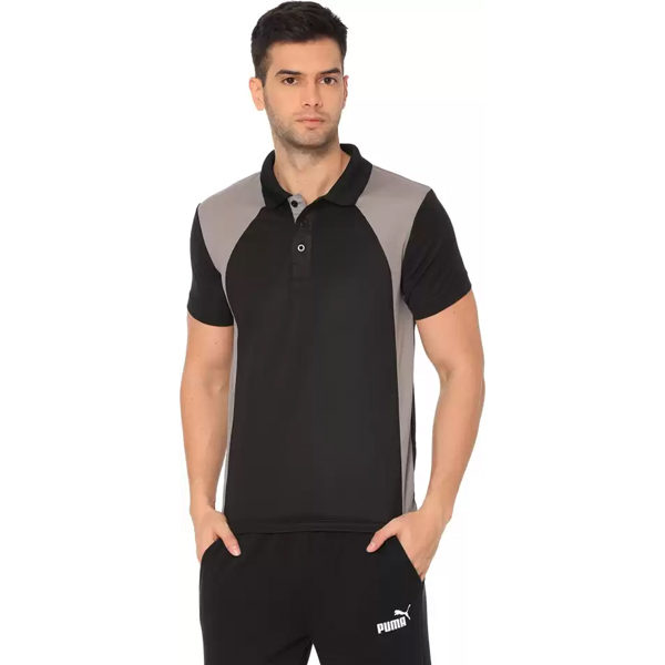 Color-Block-Men-Polo-Neck-Black-T-Shirt