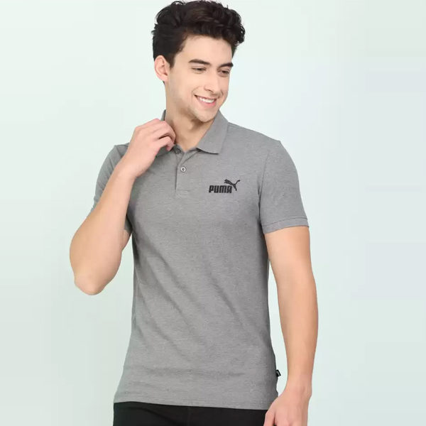 Puma-Solid-Men-Polo-Neck-Grey-T-Shirt